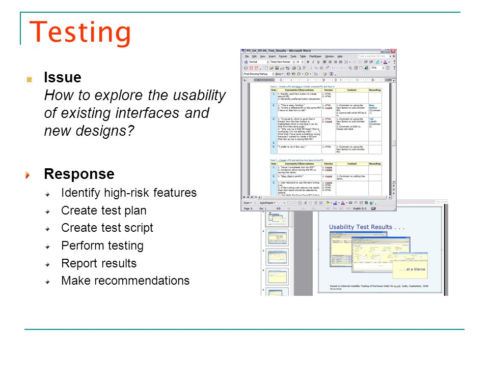 Testing Issue How to explore the usability of existing interfaces and new designs Response. Identify high-risk features.