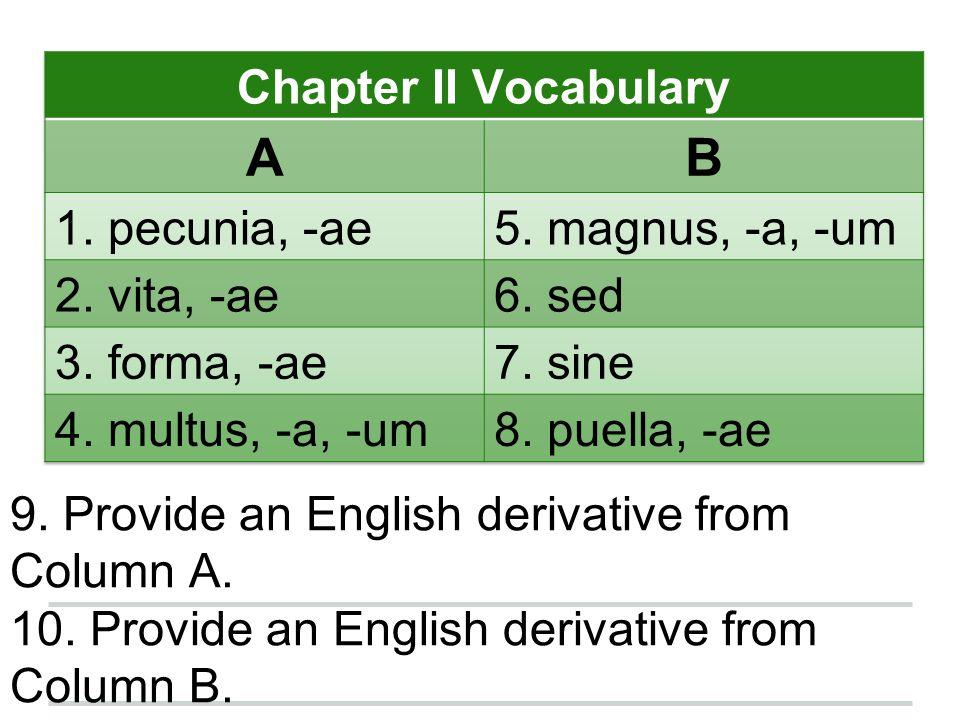 A B Chapter II Vocabulary 1. pecunia, -ae 5. magnus, -a, -um