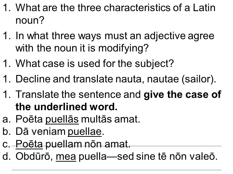 What are the three characteristics of a Latin noun