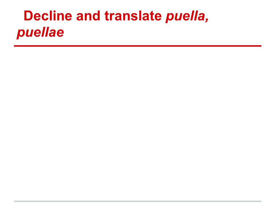 Decline and translate puella, puellae