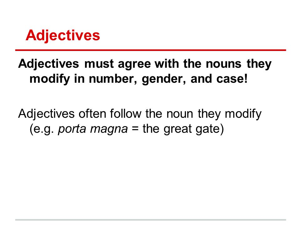 Adjectives Adjectives must agree with the nouns they modify in number, gender, and case!