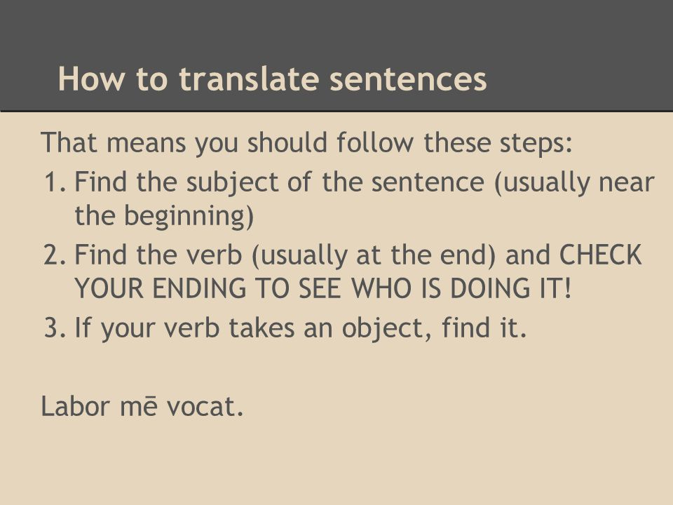 How to translate sentences
