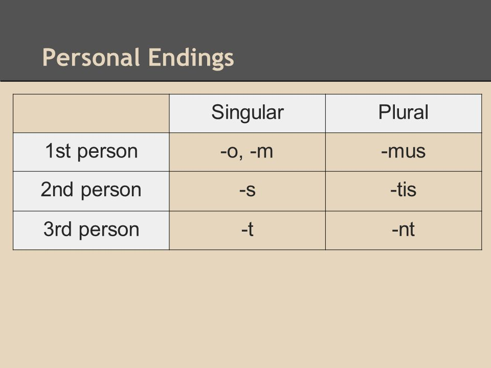 Personal Endings Singular Plural 1st person -o, -m -mus 2nd person -s