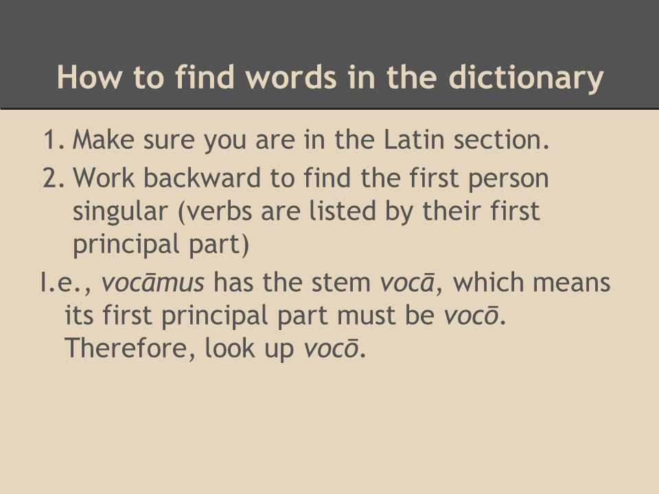 How to find words in the dictionary