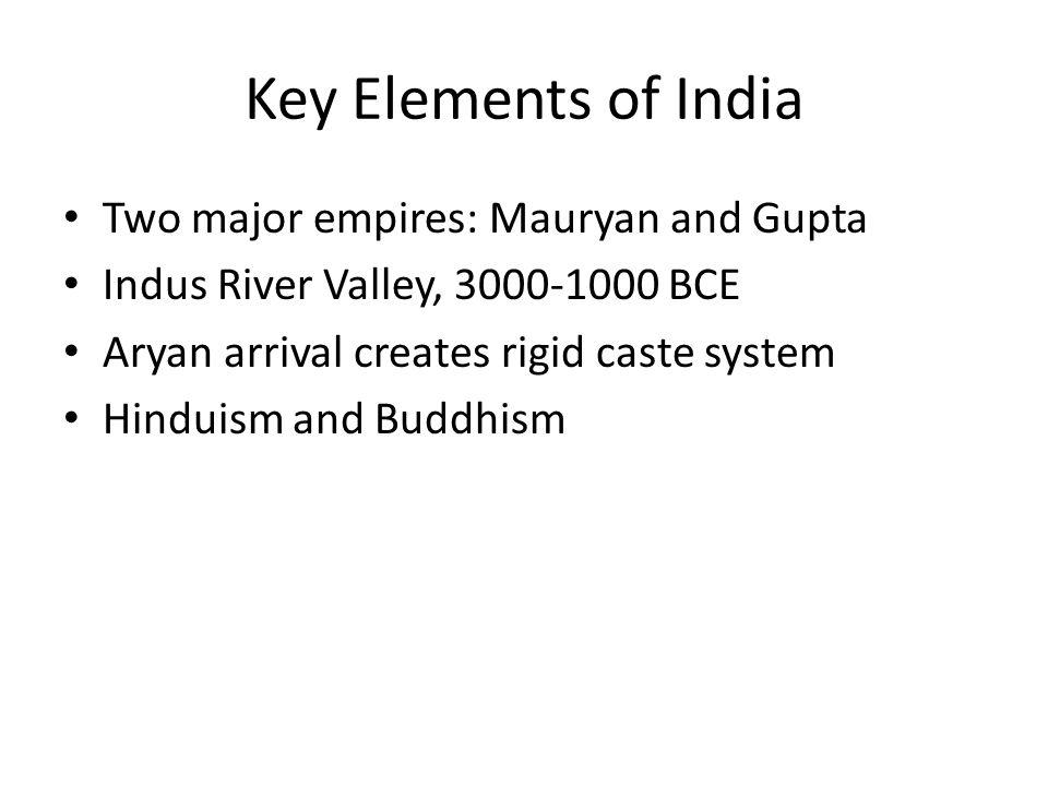 Key Elements of India Two major empires: Mauryan and Gupta