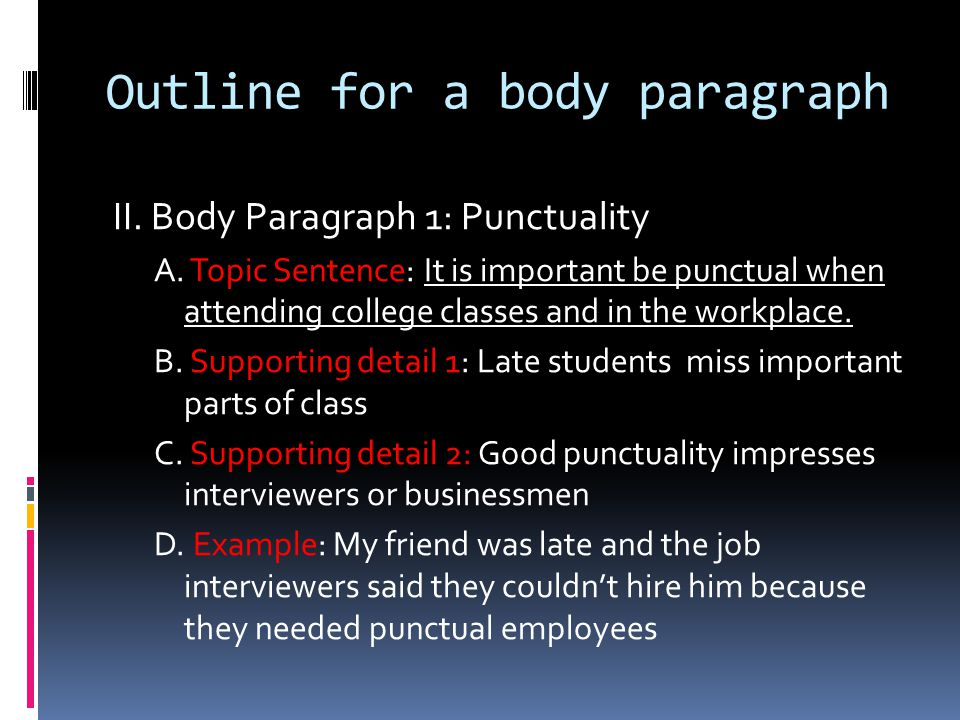 Outline for a body paragraph