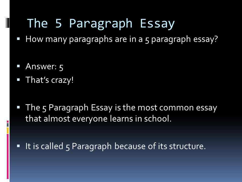 In a five paragraph essay how many paragraphs are body paragraphs