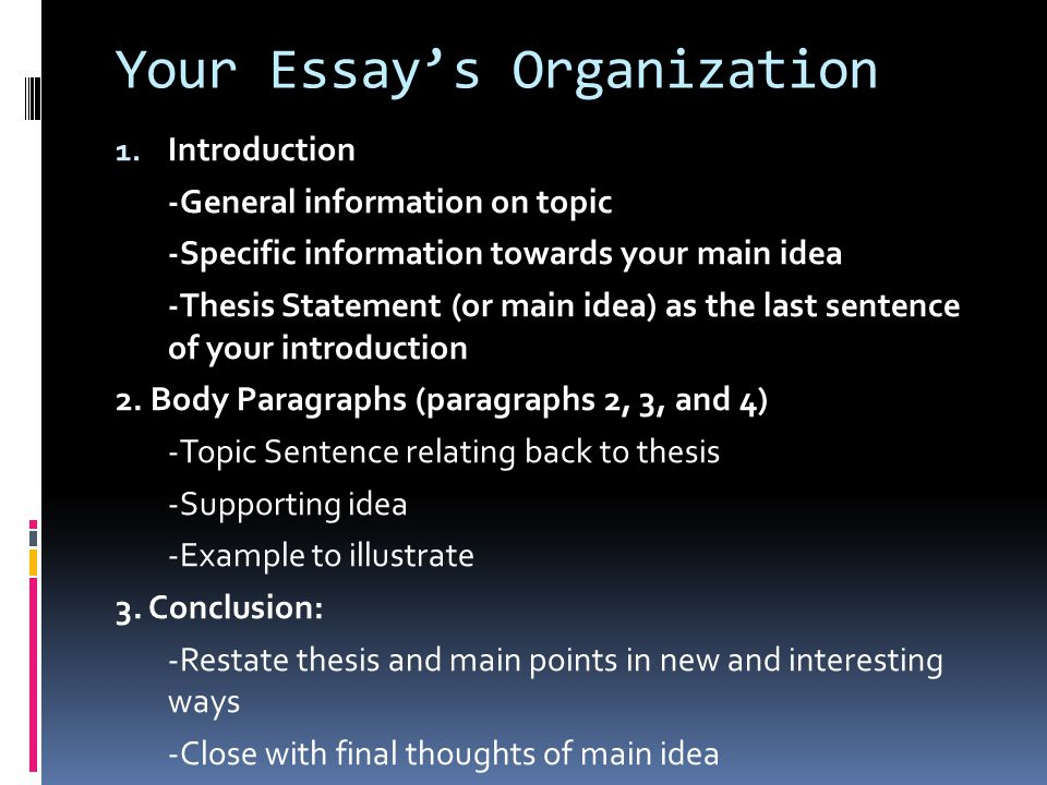 main body of thesis Thesis statement states the main idea of the essay, usually in one sentence  more general than the supporting material body paragraph 1 begin with a.