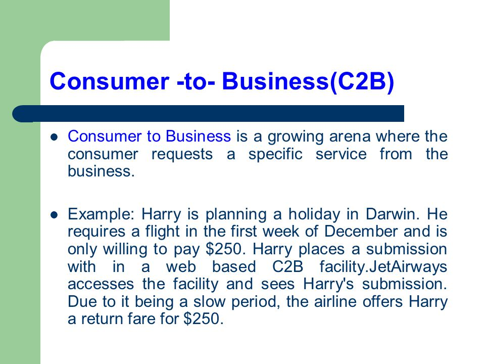 Consumer -to- Business(C2B)