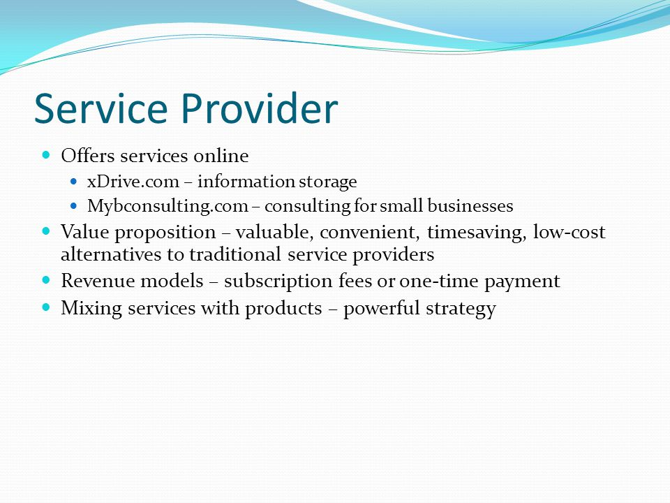 Service Provider Offers services online