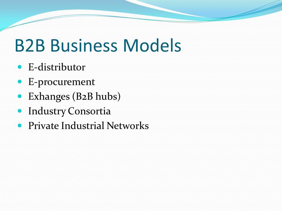 B2B Business Models E-distributor E-procurement Exhanges (B2B hubs)