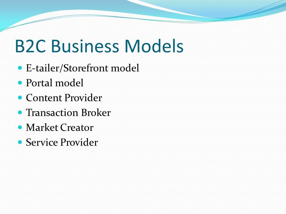 B2C Business Models E-tailer/Storefront model Portal model