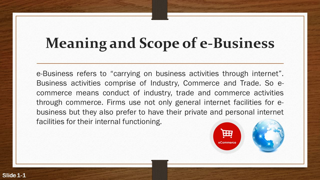 Meaning and Scope of e-Business