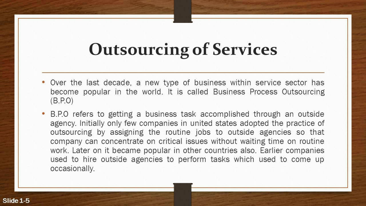 Outsourcing of Services