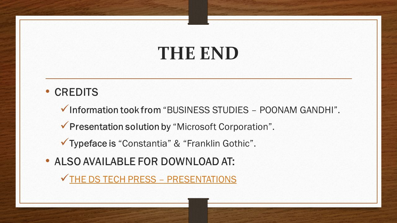 THE END CREDITS ALSO AVAILABLE FOR DOWNLOAD AT: