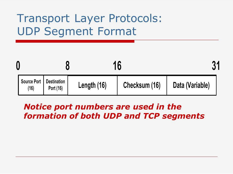 Transport Layer Protocols: UDP Segment Format