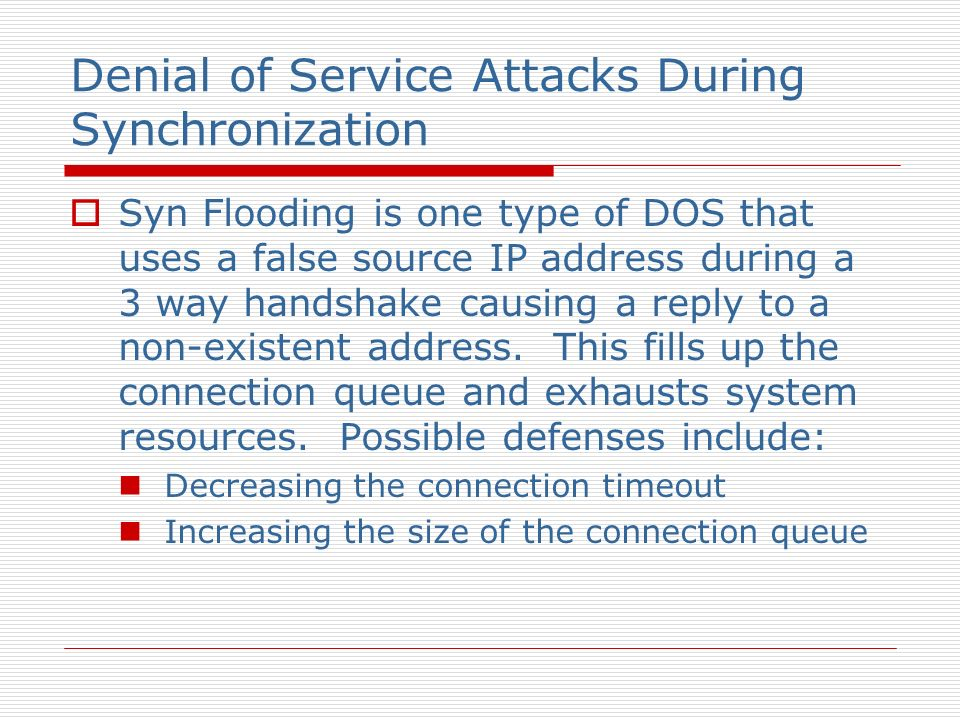 Denial of Service Attacks During Synchronization