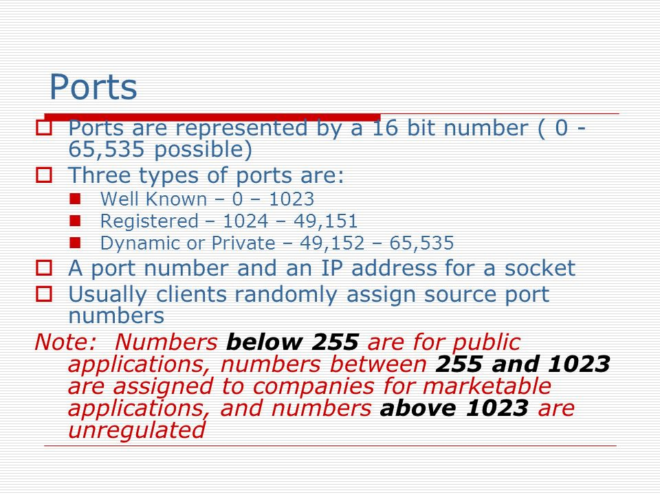 Ports Ports are represented by a 16 bit number ( 0 -65,535 possible) Three types of ports are: Well Known – 0 –