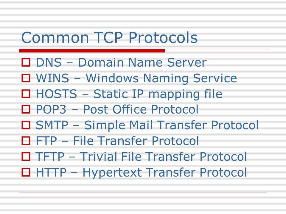 Common TCP Protocols DNS – Domain Name Server