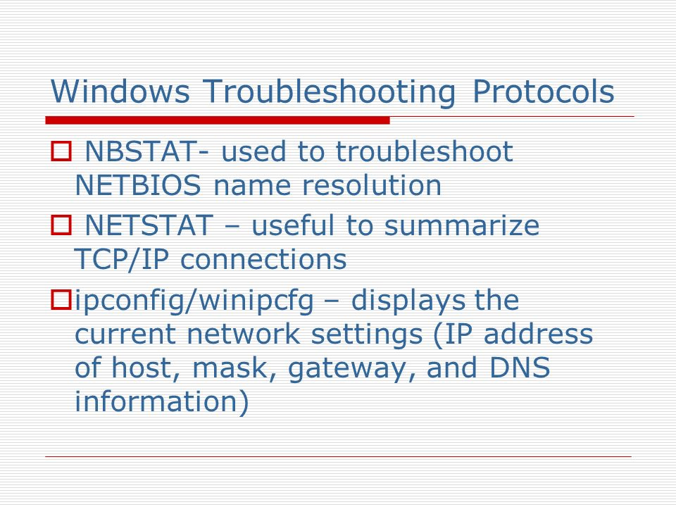 Windows Troubleshooting Protocols