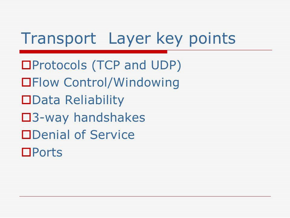 Transport Layer key points