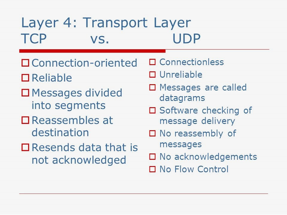 Layer 4: Transport Layer TCP vs. UDP