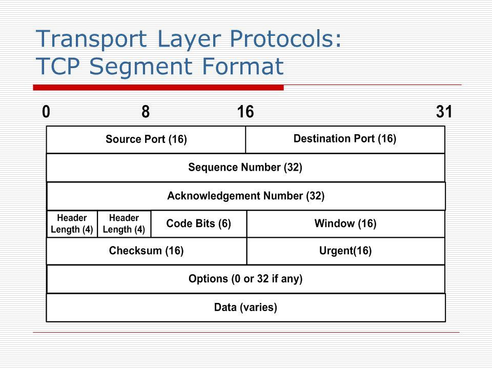 Transport Layer Protocols: TCP Segment Format