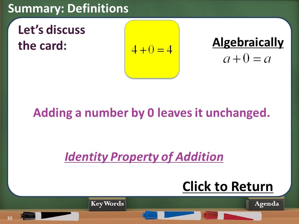 Click to Return Summary: Definitions Let's discuss the card: