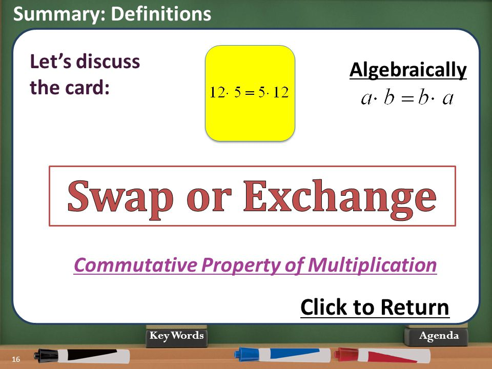 Swap or Exchange Click to Return Summary: Definitions