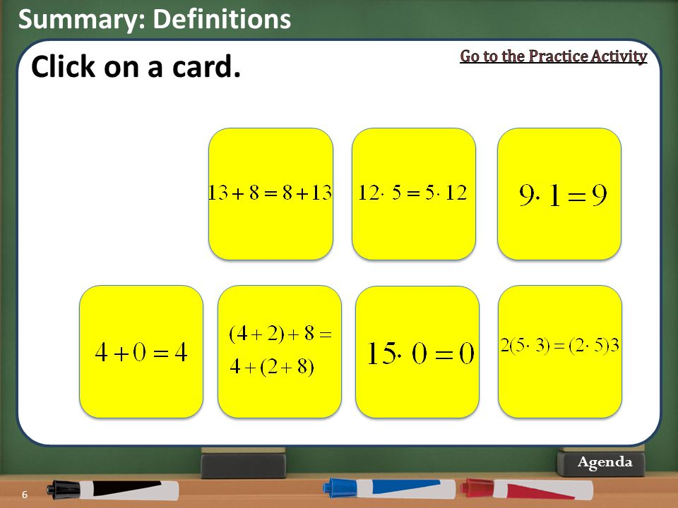 Click on a card. Summary: Definitions Go to the Practice Activity