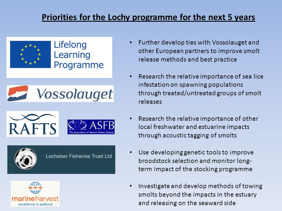 Priorities for the Lochy programme for the next 5 years