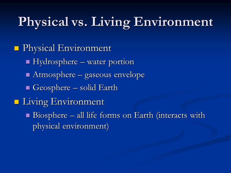 Physical vs. Living Environment