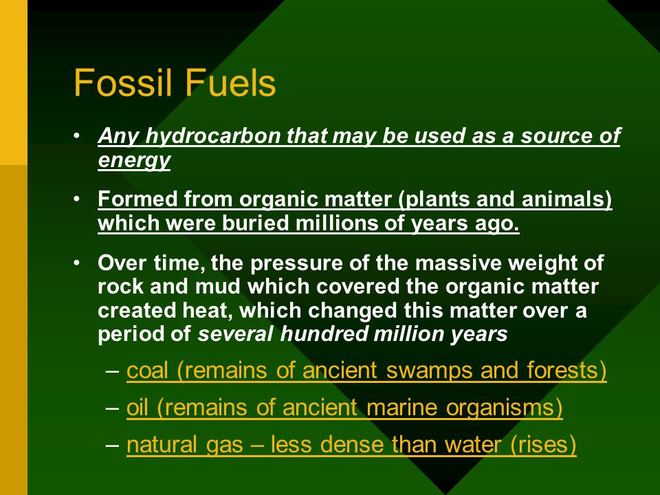 Fossil Fuels coal (remains of ancient swamps and forests)