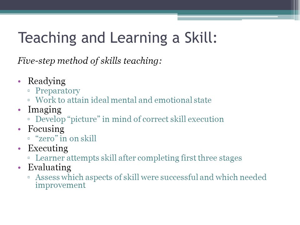 Teaching and Learning a Skill: