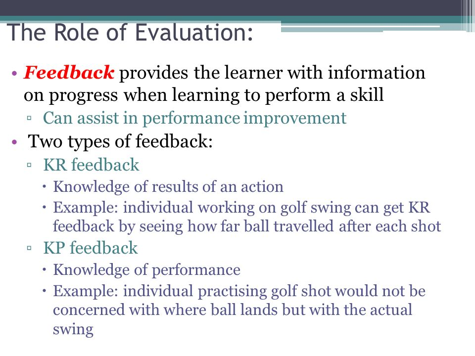 The Role of Evaluation:
