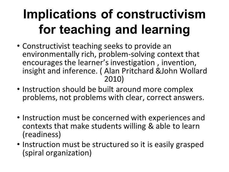 Implications of constructivism for teaching and learning