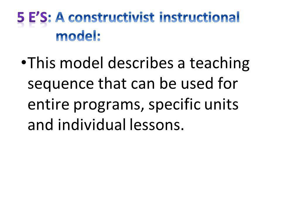 5 E'S: A constructivist instructional model: