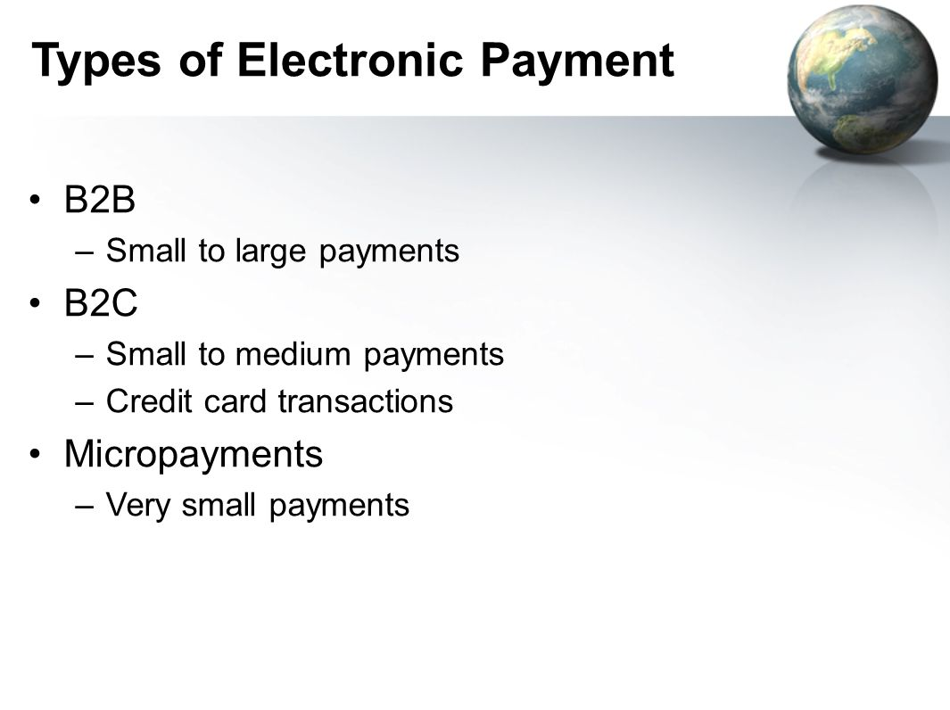 Types of Electronic Payment