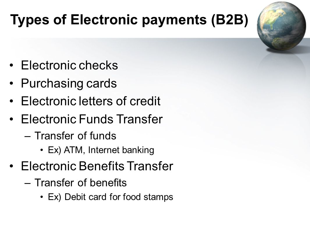Types of Electronic payments (B2B)