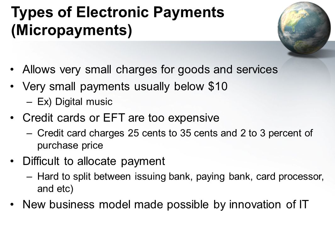 Types of Electronic Payments (Micropayments)
