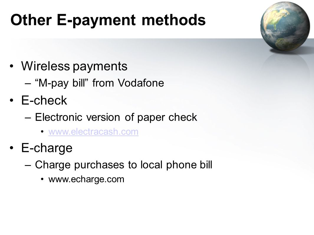 Other E-payment methods