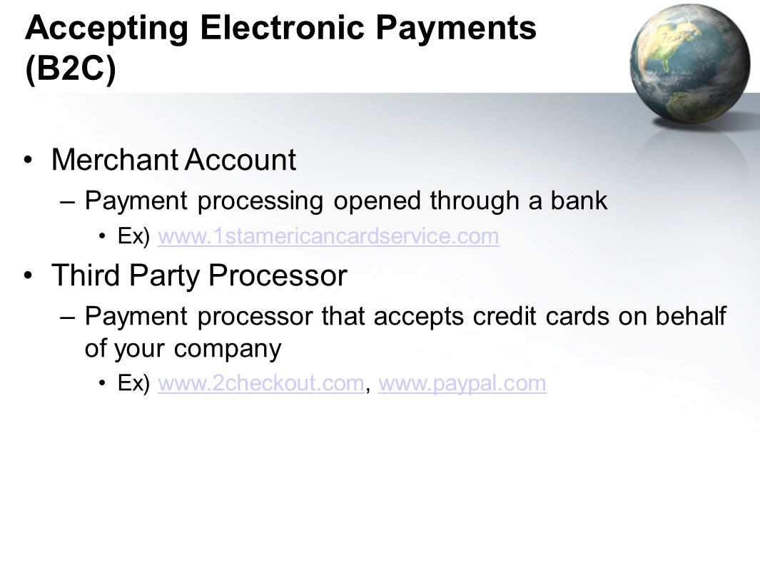 Accepting Electronic Payments (B2C)