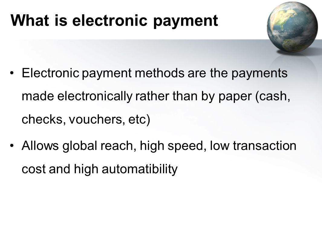 What is electronic payment
