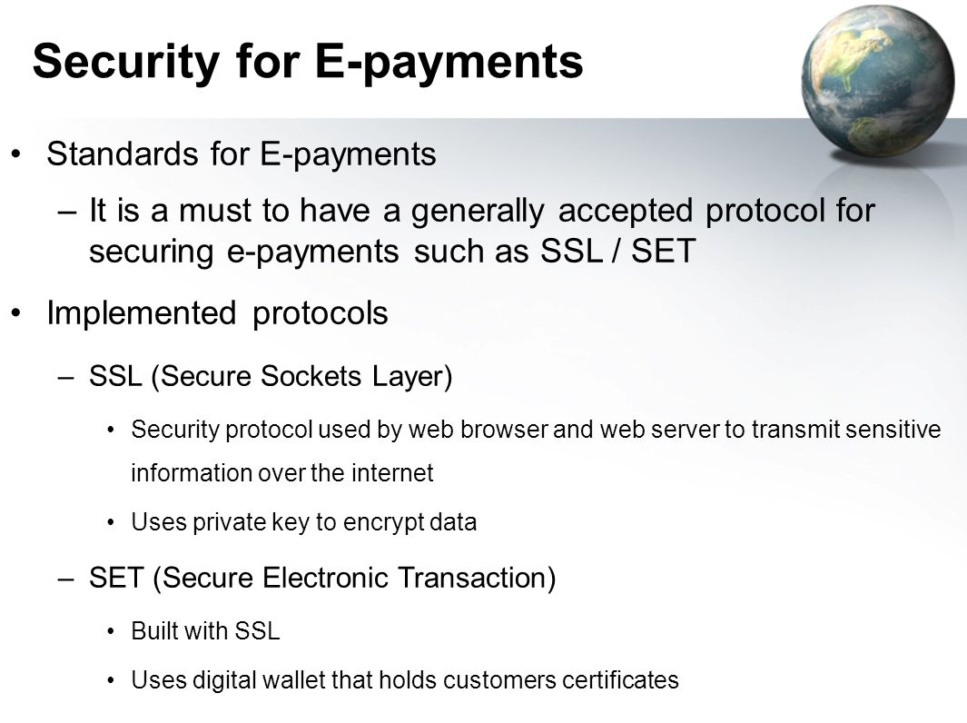 Security for E-payments