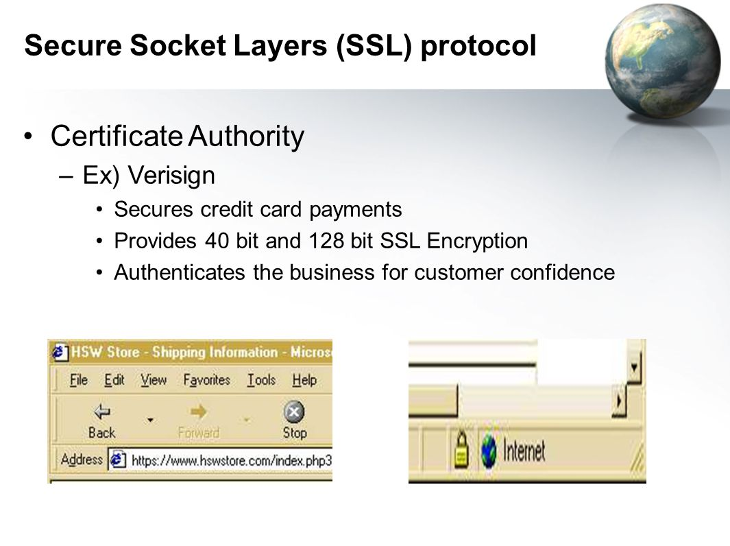 Secure Socket Layers (SSL) protocol