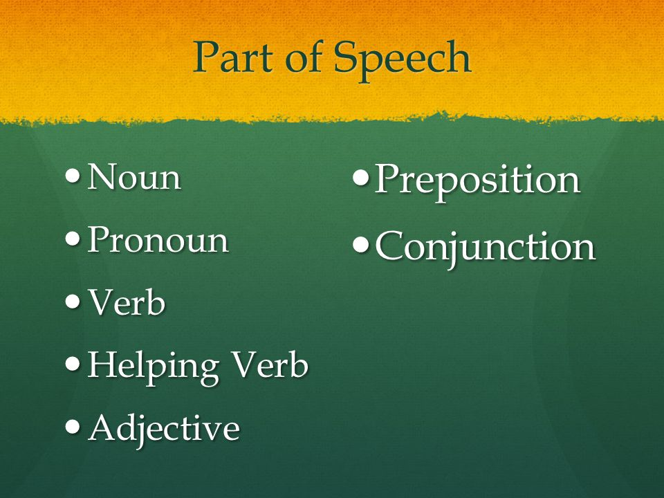 Part of Speech Preposition Conjunction Noun Pronoun Verb Helping Verb