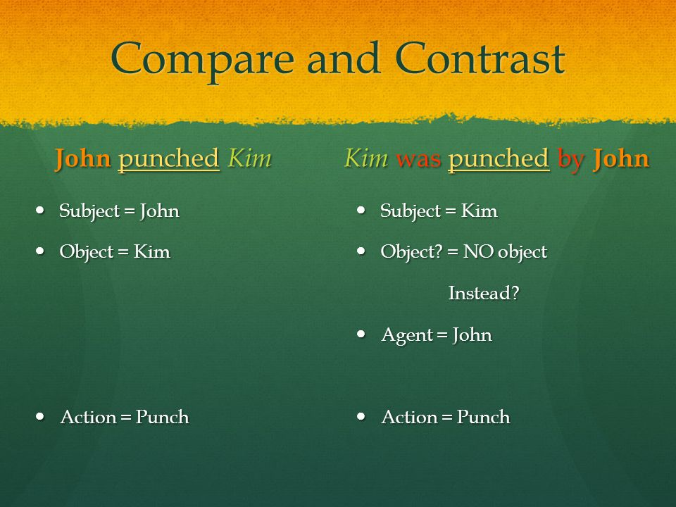 Compare and Contrast John punched Kim Kim was punched by John