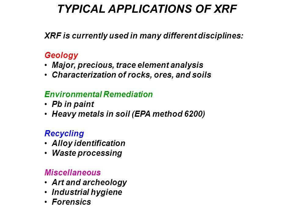 TYPICAL APPLICATIONS OF XRF