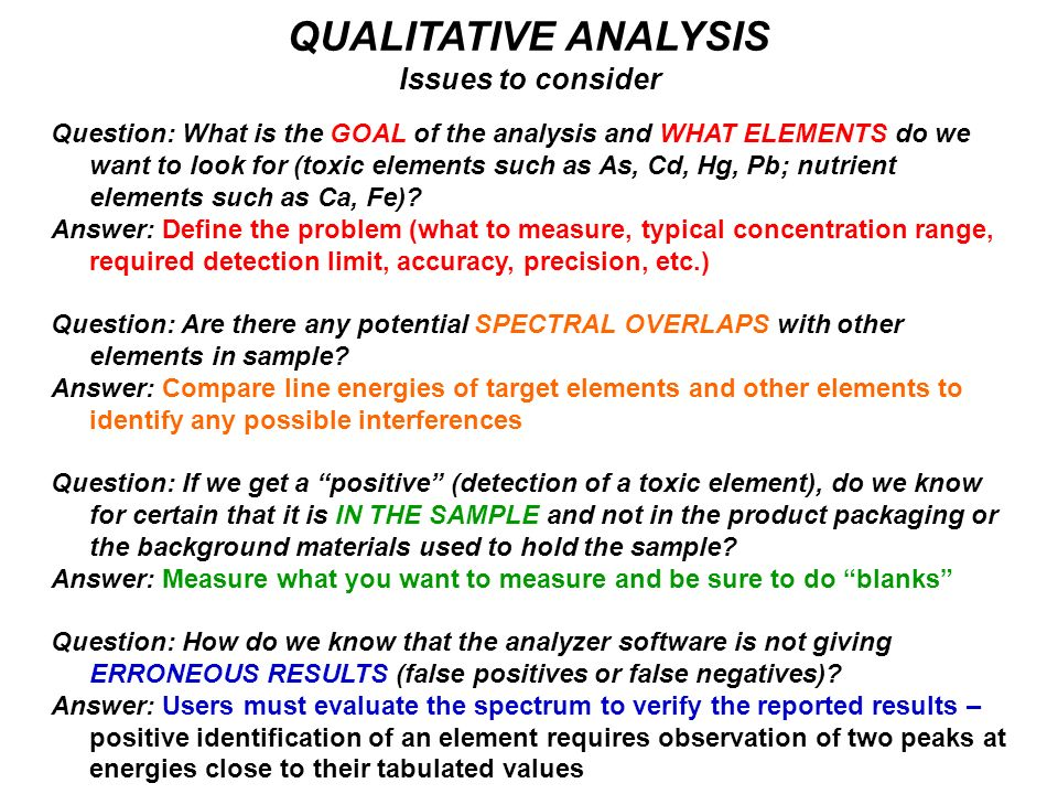 QUALITATIVE ANALYSIS Issues to consider