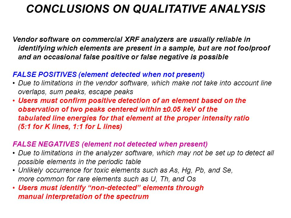 CONCLUSIONS ON QUALITATIVE ANALYSIS
